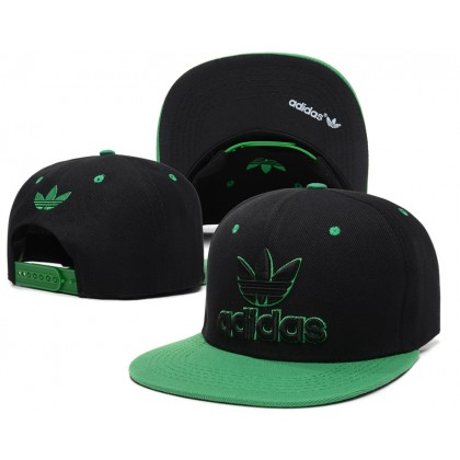 Adidas Hip Hop Men Women SnapBack Cap with adjustable strap ( Black with Green )