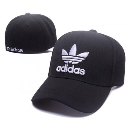 Adidas 3 Stripes Unisex Men Women Stretchable Close Full Fitted Unisex Baseball Cap (Black with White)