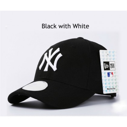 New Era New York NY Yankees Unisex Baseball Cap with adjustable strap (Black White)