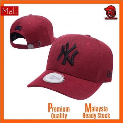 New Era New York NY Yankees Unisex Baseball Cap with adjustable strap (Maroon Black)