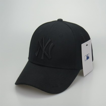 MLB New York NY Yankees Men Women Baseball Cap w adjustable strap (Full Black)