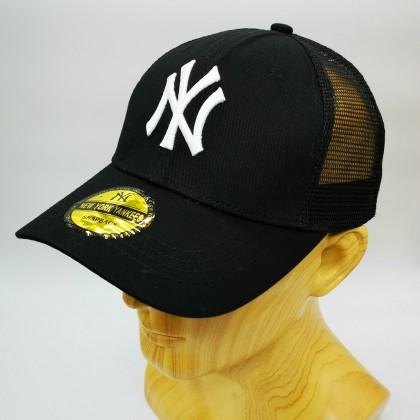MLB New York NY Yankees Men Women Baseball Trucker Cap with adjustable strap (Black White)
