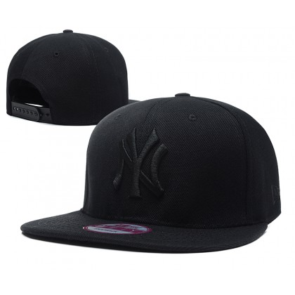 New Era MLB New York NY Yankees Men Women Hip Hop SnapBack Cap adjustable strap (Full Black)