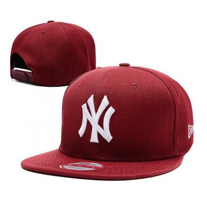 New Era MLB New York NY Yankees Men Women Hip Hop SnapBack Cap adjustable strap (Maroon)